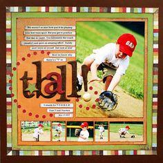 Scrapbook layout, 6 Photos, 3 Portraits, 3 Landscapes, 1 page Baseball Scrapbook, Scrapbook Paper Crafts, Scrapbook Cards, Scrapbook Photos, Graduation Scrapbook, Baseball Pics, Kids Scrapbook, Baseball Cards, Scrapbook Sketches