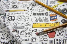 Doodled School Supplies by pennycandy by Spoonflower Fabrics, via Flickr