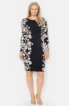 Lauren Ralph Lauren Two Tone Bateau Neck Dress Plus Size available