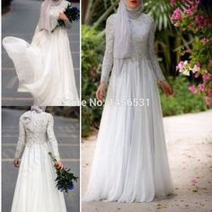 Kaftan Crystal Long Sleeve Hijab Evening Dresses High Neck Vestido Longo Puffy Chiffon Elegant Women Long Prom Dresses 2015
