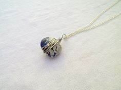 Sodalite Wire Wrapped Pendant Necklace from juta ehted - my jewelry shop by DaWanda.com