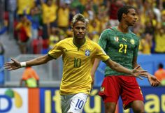 Neymar celebrates the goal that left the match at 1-0 to Brazil after 16 minutes