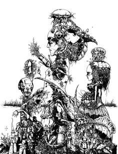 Harrowing Sediment, ink on paper, 2012. By Richard A. Kirk.