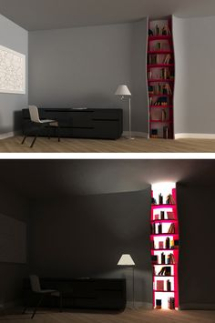 Build-In Bookshelves With Backlighting