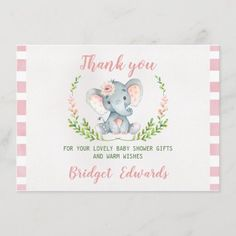 Girls Elephant Thank You Baby Shower Card Elephant Baby Showers, Baby Boy Shower, Baby Shower Gifts, Baby Gifts, Baby Elephant, Girl Gifts, Baby Shower Card Sayings, Baby Shower Thank You Cards, Thank You Greeting Cards