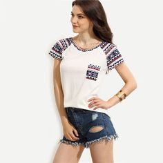Aliexpress.com : Buy DIDK Summer Tops 2016 Fashion T shirts For Women White Print Round Neck Short Sleeve With Pocket Casual T shirt from Reliable shirt dress plus size suppliers on DIDK Official Store