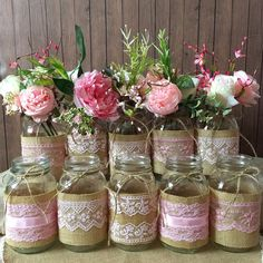 Burgundy Blush Pink & Rose Gold Sparkle Sequin Fabric Backdrop with Lace Wedding Garland Photo P Mason Jar Centerpieces, Baby Shower Centerpieces, Bridal Shower Decorations, Wine Bottle Crafts, Mason Jar Crafts, Mason Jar Diy, Burlap Mason Jars, Wedding Mason Jars, Pink Mason Jars