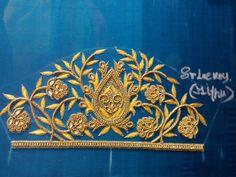 Aari Embroidery, Embroidery Stitches, Embroidery Designs, Simple Blouse Designs, Blouse Designs Silk, Hand Designs, Flower Designs, Aari Work Blouse, Neck Design