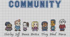 Community cross stitch pattern http://www.etsy.com/listing/102062783/cross-stitch-pattern-8-bit-community