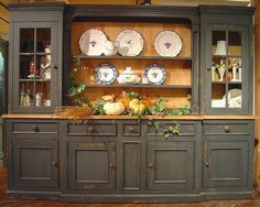 Large 6-Section Sideboard & Hutch w 5 Drawers & 3 Cabinets
