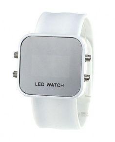 Montre femme à LED effet miroir bracelet silicone, style fashion et casual avec cadran en acier inoxydable, mouvement numérique.