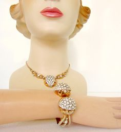 Vintage Rhinestone Necklace and Clamper by nanascottagehouse, $39.99