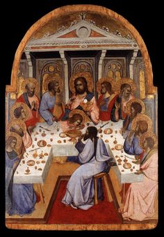 Agnolo Gaddi (c.1350–1396) was an Italian painter. He was born and died in Florence, and was the son of the painter Taddeo Gaddi.  The Last Supper, c. 1395, Tempera on wood, 61 x 42 cm, Lindenau-Museum, Altenburg