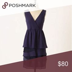 Anthro Ric Rac navy tonal gingham dress small Excellent condition, more photos coming soon Anthropologie Dresses Midi