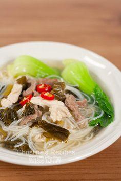 雪菜肉絲雞絲湯米粉 Shredded pork with Salted Vegetables Rice Noodle Soupt01