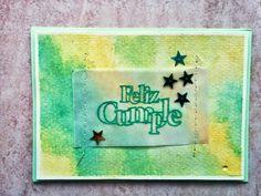 "Tarjeta cumple verde para reto ""Crea tu propio papel decorado"" para la marca www.laparejacreativa.com/blog"