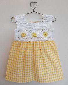 Crochet Baby Dress Pattern, Crochet Yoke, Crochet Fabric, Baby Girl Crochet, Crochet Baby Clothes, Baby Knitting Patterns, Kids Crochet, Crochet Patterns, Crochet Hats