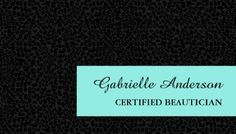 Elegant Black Leopard Print Certified Beautician Business Cards http://www.zazzle.com/elegant_black_leopard_0print_certified_beautician_business_card-240924893034849113?rf=238835258815790439&tc=GBCSalon1Pin