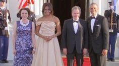 12th State Dinner leaders of five Nordic countries at the White House May 13, 2016 President Of The United States #BarackObama First Lady Of The United States #MichelleObama is standing out in a sea of black tuxedos in a blush-colored, strapless, floor-length gown at the Nordic Summit dinner. The first lady chose a dress by Indian-born designer Naeem Khan for the White House dinner honoring the leaders of Sweden, Iceland, Finland, Denmark and Norway. She finished the look with gold jewelry…