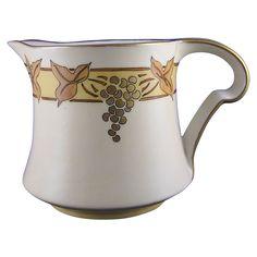 Porcelaine Limousine (PL) Limoges Arts & Crafts Grape Motif Pitcher (c.1905-1930's)