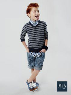 M2A Jeans   Fall Winter 2015   Kids Collection   Outono Inverno 2015   Coleção Infantil   bermuda jeans infantil masculina; look infantil; denim kids.