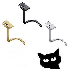 Piercing de nariz en ángulo con diseño de gato