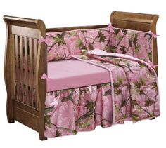 The Baby Pink Camo crib set features detailed, leafy oak camo print set on a tasteful pink backdrop. As part of the larger HiEnd Accents Pink Camo collection, a wide array of complementing accessories are readily available.