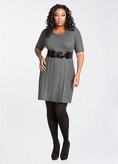 Grey plus size sweater dress
