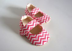 Spring Chevron Baby Mary Janes by jengalaxy on Etsy