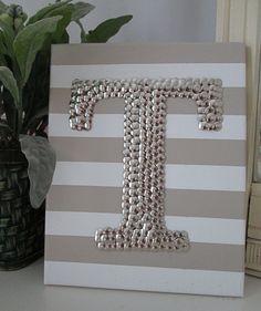 Initial Letter Art Monogram over Stripes Thumbtack by WallBlings Diy Artwork, Diy Wall Art, Diy Craft Projects, Craft Gifts, Diy Gifts, Thumbtack Art, Push Pin Art, Home Crafts, Diy And Crafts