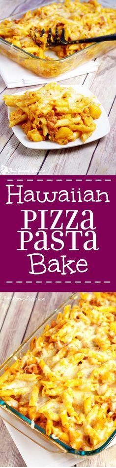Hawaiian Pizza Pasta Bake Recipe - an easy dinner recipe idea! Cheese, bacon…