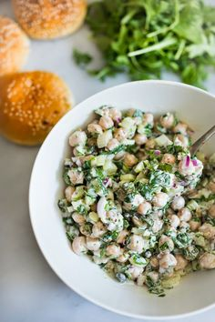 Chickpea Salad w/ Cilantro….Place over a bed of greens and you have a hearty healthy vegan and gluten free meal!!