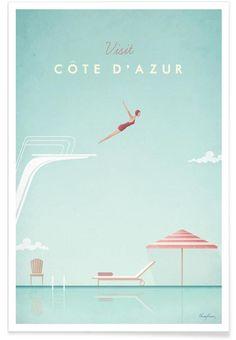 Côte d'Azur par Henry Rivers en Affiche premium | Achetez en ligne sur JUNIQE ✓ Livraison fiable ✓ Découvrez de nouveaux designs sur JUNIQE !