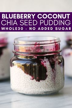 whole 30 recipes This Blueberry Coconut Chia Seed Pudding is a healthy breakfast or snack that you can prep ahead of time. This pudding is made without any artificial sweeteners because the blueberries are sweet enough! Chia Pudding Vegan, Coconut Chia Seed Pudding, Overnight Chia Pudding, Chocolate Chia Seed Pudding, Overnight Oats, Best Chia Seed Pudding Recipe, Flax Seed Pudding, Chai Pudding, Good Healthy Recipes