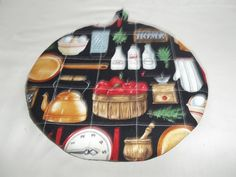 Quilted Hot Pad or Pot Holder Country Kitchen on Black Background Round Cotton Fabric 9 Inches Insulated Trivet Utensil Gift by bestdoilies on Etsy