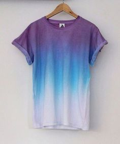Tie Dye Shirts, Shirt Diy, T Shirt, How To Tie Dye, How To Wear, Ombre Shirt, Diy Vetement, Komplette Outfits, Summer Outfits