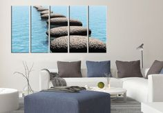 Large Wall Art Steps on Sea Large Canvas Art Print for Home Decoration, Ready Hanging, Great Print, Steps and Sea Canvas Art Print