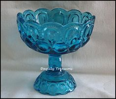 vintage Blue glass compote. I have this exact one, but mine also has a glass cover. Gorgeous!