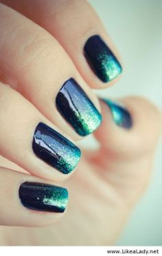 Black nails. Teal glitter ombré from top to cuticle