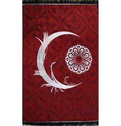 Chenille Tulip Crescent Turkish Muslim Prayer Mat - Red | Modefa USA
