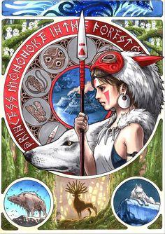 Princesse mononoke  De magnifiques affiches Miyazaki imprégnées d'Art Nouveau par l'artiste Takumi !