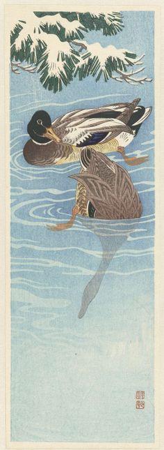 Koppel wilde eenden in het water, Anonymous, Watanabe Shôzaburô, 1925 - 1936