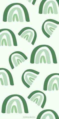 Green Pastel Rainbow Illustration Wallpaper