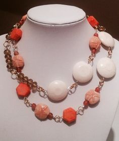 "31"" Nautical Sand Dollar, Coral and Crystal Necklace | evezbeadz - Jewelry on ArtFire"