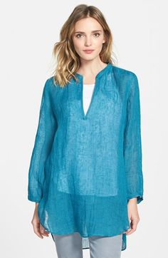Eileen Fisher Organic Linen Mandarin Collar Tunic (Online Only) available at #Nordstrom