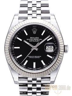 Rolex Datejust 41 Edelstahl Weißgold 126334 Schwarz Jubile-Band