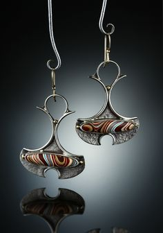Fordite Earrings. Fabricated Sterling Silver, 14k and 18k. www.amybuettner.com https://www.facebook.com/pages/Metalsmiths-Amy-Buettner-Tucker-Glasow/101876779907812?ref=hl https://www.etsy.com/people/amybuettner http://instagram.com/amybuettnertuckerglasow
