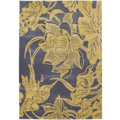 nice Counterfeit Studio Flower Bird Rug in Yellow Check more at http://yorugs.com/shop/counterfeit-studio-flower-bird-rug-in-yellow/