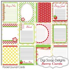 Project Life Inspired Journal Cards Berry by DigiScrapDelights