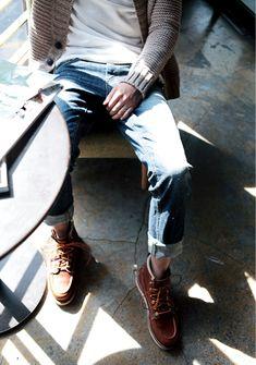 cardigan + tee + jeans + moc toe